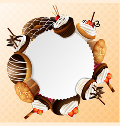 Bakery sweet frame background vector