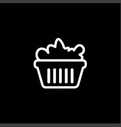 basket line icon on black background black flat vector image