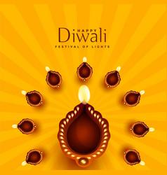 Beautiful diwali diya decoration background vector