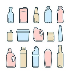 Beverage container icons vector