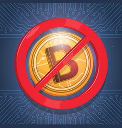 Bitcoins not accepted sign digital crypto currency vector