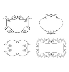 black decorative frames - floral set vector image