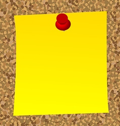 Blank note paper on cork board vector image