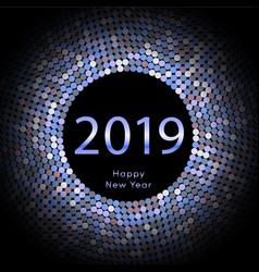 Blue discoball new year 2019 greeting poster vector