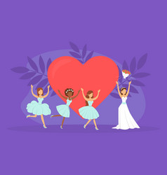 bride throwing bouquet flowers to bridesmaids vector image