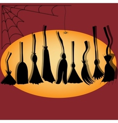 Brooms Silhouette vector image