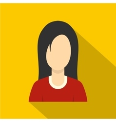 Brunette with long hair icon flat style vector