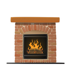Burning brick fireplace with fire inside vector