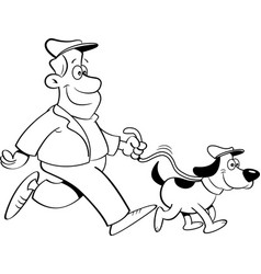 Cartoon man walking a dog vector