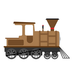 cartoon old steam locomotive vector image