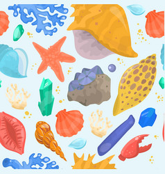 Cartoon sea shells starfish corals and ocean vector