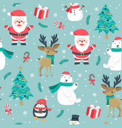 christmas seamless pattern with santa and vector image