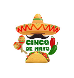 Cinco de mayo sombrero and food mexican holiday vector