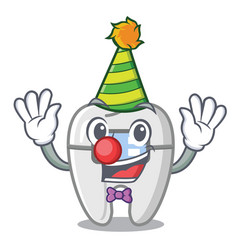 Clown toys braces in mascot box vector