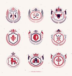 Collection heraldic decorative coat arms vector