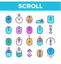 Color scroll thin line sign icons set vector