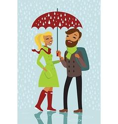 Couple under rain vector