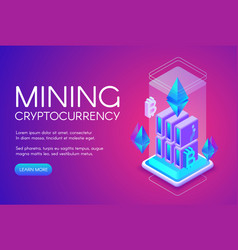 cryptocurrency mining farm vector image