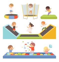 Cute little boys and girls bouncing on trampolines vector
