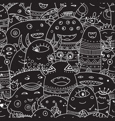 Cute monsters crowd seamless pattern in boho style vector