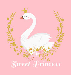 Cute swan princess beautiful lake swans bird in vector