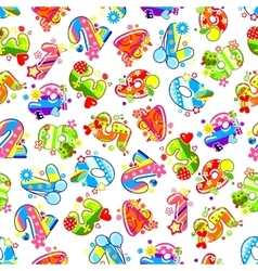 Decorative childish numbers seamless pattern vector image