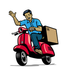 delivery courier service worker smiling while vector image