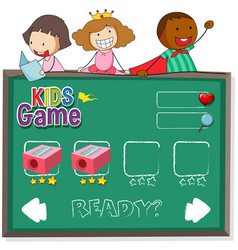doodle kids on game template vector image