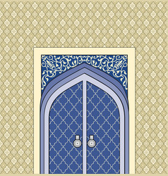 Door in muslim oriental house facade arabic vector
