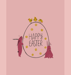 Easter greeting card with bunny chickens and an vector