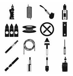 Electronic cigarettes icons set simple style vector