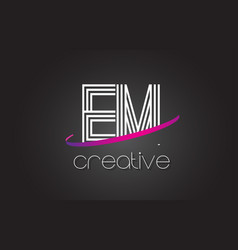 Em e m letter logo with lines design and purple vector