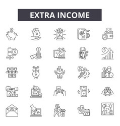 Extra income line icons signs set vector