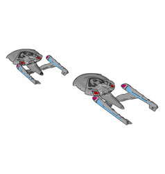 fantasy imperial spaceship on white background vector image