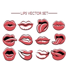 Female lips expression set vector image
