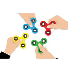 fidget spinners in hands popular fidget spinner vector image