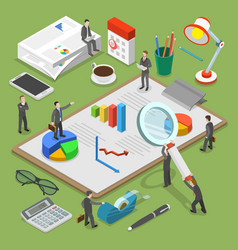 Financial audit flat isometric concept vector