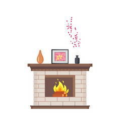 Fireplace with framed photo on wooden shelf icon vector