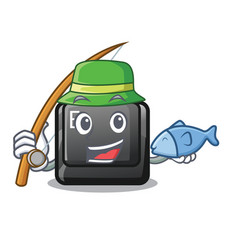 Fishing button e in mascot shape vector