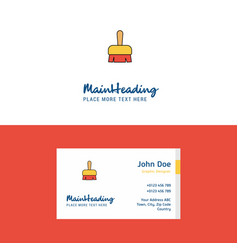 flat brush logo and visiting card template vector image