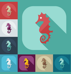 Flat modern design with shadow icons seahorses vector