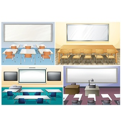 Four scenes of classroom vector image