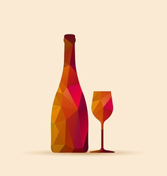 geometric polygonal glass and bottle vector image