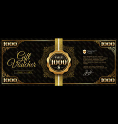 Gift voucher template with glitter gold elements vector
