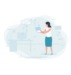 girl working at home cloud technologies concept vector image