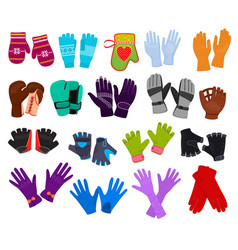 glove woolen mittens and protective pair of vector image