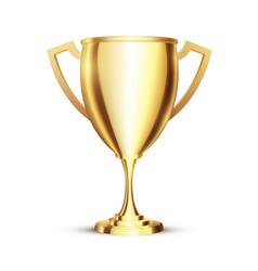 golden realistic 3d winner cup golden trophy vector image
