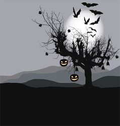 Halloween background - scary tree vector image
