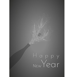 Happy new year and bottle vector
