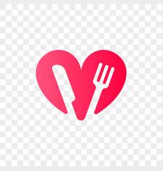 heart logo fork knife icon vector image